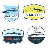 Reeks moderne autoemblemen, kentekens en pictogrammen Stock Foto