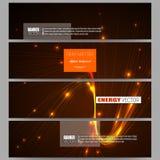 Reeks moderne banners Abstracte lijnenachtergrond, dynamische gloeiende decoratie, motieontwerp, de vector van de energiestijl Royalty-vrije Stock Fotografie
