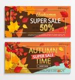 Reeks moderne banners voor de herfst super verkoop Royalty-vrije Stock Foto's