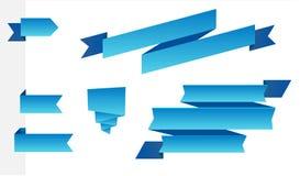 Reeks moderne blauwe linten Royalty-vrije Stock Fotografie