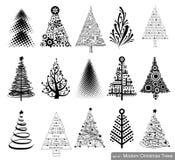 Reeks Moderne Kerstbomen Royalty-vrije Stock Afbeeldingen