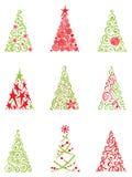 Reeks moderne Kerstmisbomen Stock Afbeeldingen