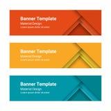 Reeks moderne kleurrijke horizontale vectorbanners in een materiële ontwerpstijl Kan als bedrijfsmalplaatje of in een Webontwerp  Stock Foto's