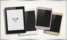 Reeks moderne modieuze tabletten in verschillende kleuren Stock Afbeelding