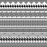 Reeks moderne naadloze vectorborstels voor het creëren van kaders Stock Afbeelding