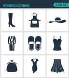 Reeks moderne pictogrammen De schoenen van de vrouwens kleding, fartuh, hoed, robe, pantoffels, T-shirt beurs, kleding, rok Zwart Stock Afbeelding