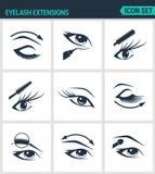 Reeks moderne pictogrammen De wimpers van wimperuitbreidingen, ogen, mascara, oogschaduw, wenkbrauw, eyeliner, verhoging Zwarte t vector illustratie