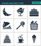 Reeks moderne pictogrammen Dessert en zoet voedselcroissant, dessert, cake, fruitsalade, honing, appel, mand, koffie, roomijs Royalty-vrije Stock Foto