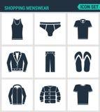 Reeks moderne pictogrammen Het winkelen menswear T-shirt, rokken, broek, tennisschoenen, leerjasje, overhemd, jasje Zwarte tekens vector illustratie