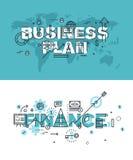 Reeks moderne vectorillustratieconcepten het businessplan van woorden en financiën royalty-vrije illustratie