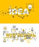 Reeks moderne vectorillustratieconcepten woordenidee en Webontwerp Stock Afbeelding