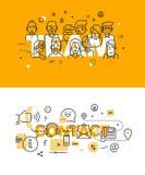 Reeks moderne vectorillustratieconcepten woordenteam en contact stock illustratie