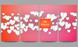 Reeks moderne vectorvliegers Witboekharten, rode achtergrond voor Valentijnskaartendag Royalty-vrije Stock Foto