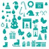 Reeks moderne vlakke Kerstmispictogrammen voor infographic Royalty-vrije Stock Afbeelding