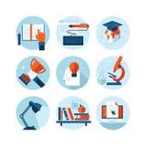 Reeks moderne vlakke ontwerppictogrammen op het onderwerp van kennis en onderwijs vector illustratie