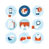 Reeks moderne vlakke ontwerppictogrammen op zaken stock illustratie