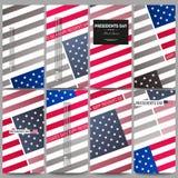 Reeks moderne vliegers De achtergrond van de voorzittersdag met Amerikaanse vlag, abstracte vectorillustratie Stock Foto's