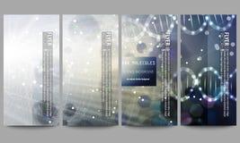 Reeks moderne vliegers DNA-moleculestructuur op donkerblauwe achtergrond Wetenschaps vectorachtergrond Royalty-vrije Stock Afbeeldingen