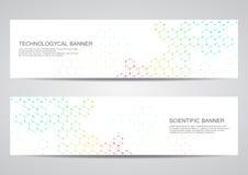 Reeks moderne wetenschappelijke banners DNA van de moleculestructuur en neuronen abstracte achtergrond Geneeskunde, wetenschap, t Royalty-vrije Stock Foto's