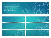 Reeks moderne wetenschappelijke banners Moleculaire structuur van DNA en neuronen Geometrische abstracte achtergrond geneeskunde stock illustratie