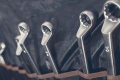 Reeks moersleutels, moersleutelreeks Geplaatste moersleutels Royalty-vrije Stock Fotografie