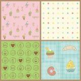 Reeks Mooie Achtergronden Cupcakes Royalty-vrije Stock Afbeeldingen