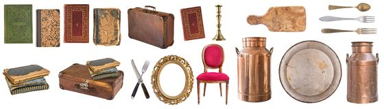 Reeks mooie antieke punten, omlijstingen, meubilair, tafelzilver retro wijnoogst Ge?soleerdj op witte achtergrond stock afbeeldingen