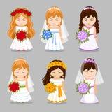 Reeks mooie bruiden met huwelijksboeket royalty-vrije illustratie