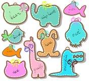 Reeks mooie dierlijke etiketten Stock Foto