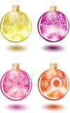 Reeks mooie het glasballen van Kerstmis Stock Fotografie