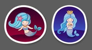 Reeks mooie kleine meerminnen royalty-vrije illustratie