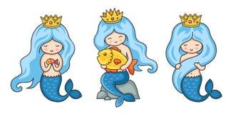 Reeks mooie meerminprinsessen met blauw haar stock illustratie