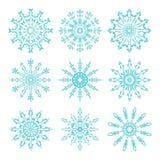 Reeks mooie overladen kanten sneeuwvlokken Vector illustratie Stock Afbeelding
