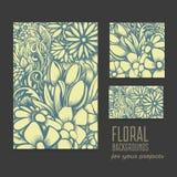 Reeks mooie vectorkaarten met bloemenachtergrond Royalty-vrije Stock Afbeelding