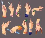 Reeks mooie vrouwelijke handen Stock Afbeeldingen