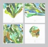Reeks mooie waterverf vierkante kaarten op watercolour geweven Witboek met plaats voor tekst Hand getrokken illustratie met blo Stock Afbeeldingen