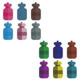Reeks multi-colored flessen in de stijl van vlakte Vector illustratie Stock Fotografie