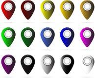 Reeks multi-colored kaartwijzers GPS-plaatssymbool Stock Afbeeldingen