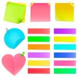 Reeks multi-colored kantoorbehoeftenstickers De sticker van het hart Stock Foto