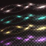 Reeks multicolored abstracte lijnen van energie magische elektrische magische lijnen van golven op een doorzichtige donkere gereg vector illustratie