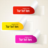 Reeks multicolored document stickers. De pictogrammen van het Web Stock Foto