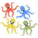 Reeks multicolored leuke octopussen in Vector het beeldverhaalillustratie van de beeldverhaalstijl stock illustratie