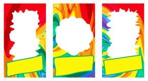 Reeks multicolored malplaatjeskaders voor websites, boekjes, verhalen, sociale netwerken, toepassingen, banners Regenboog heldere vector illustratie