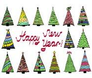 Reeks multicolored pictogrammen van Kerstmisbomen stock illustratie