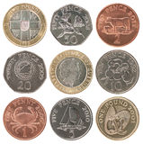 Reeks muntstukken Guernsey royalty-vrije stock foto's
