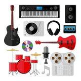 Reeks muziek en correcte die voorwerpen op wit wordt geïsoleerd Royalty-vrije Stock Afbeelding