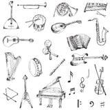 Reeks Muziekinstrumenten Stock Afbeeldingen