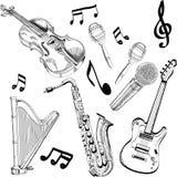 Reeks Muziekinstrumenten - hand in vector wordt getrokken die Royalty-vrije Stock Foto's