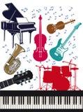 Reeks muzikale instrumenten Stock Fotografie
