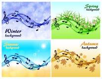 Reeks muzikale kaarten door de seizoenen royalty-vrije illustratie